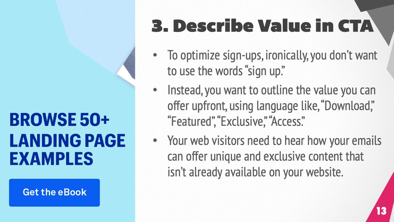 Use clear value proposition in your signup buttons